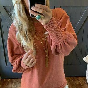 Plus Size   Modern Puff Sleeve Blush Sweater